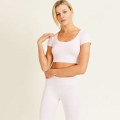 [monob]Seamless Scoop Neck Crop Athleisure Top (AT2358)