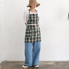 green check short apron