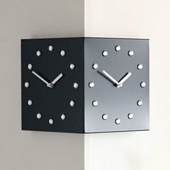크리스탈 코너 벽시계 - 블랙