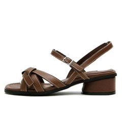 kami et muse Stitch strap middle heel leather sandals_KM19s268
