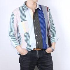 스트라이프 셔츠 남방 화이트 R1-041