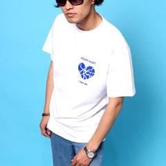 프린트 반팔 티셔츠  R4-044 하트헐트 화이트