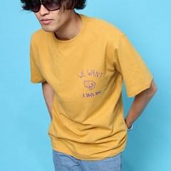 프린트 반팔 티셔츠  R4-043 유 애쉬옐로우