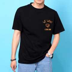 프린트 반팔 티셔츠  R4-042 유 블랙