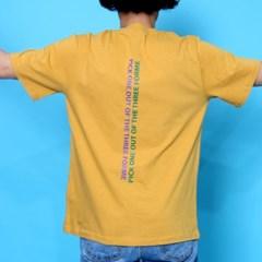 프린트 반팔 티셔츠  R4-040 슬로건 애쉬옐로우