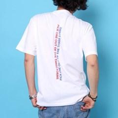 프린트 반팔 티셔츠  R4-038 슬로건 화이트