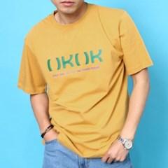 프린트 반팔 티셔츠  R4-037 로고 애쉬옐로우