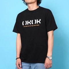 프린트 반팔 티셔츠  R4-036 로고 블랙