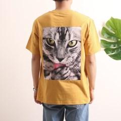프린트 반팔 티셔츠  R4-034 고양이 애쉬옐로우