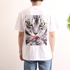 프린트 반팔 티셔츠  R4-032 고양이 화이트
