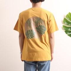 프린트 반팔 티셔츠  R4-025 나뭇잎 애쉬옐로우