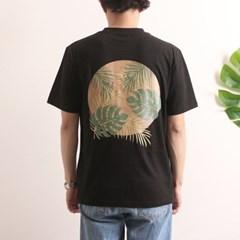 프린트 반팔 티셔츠  R4-024 나뭇잎 블랙