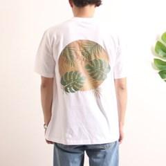 프린트 반팔 티셔츠  R4-023 나뭇잎 화이트