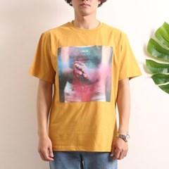 프린트 반팔 티셔츠  R4-019 분진 애쉬옐로우