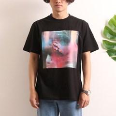 프린트 반팔 티셔츠  R4-018 분진 블랙