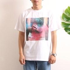 프린트 반팔 티셔츠  R4-017 분진 화이트