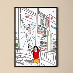 유니크 일본 인테리어 디자인 포스터 M 오사카 도톤보리3