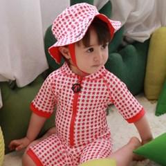 데이빗앤케이트 유아 일체형 래쉬가드 모자 세트 - 스타