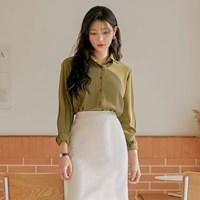 [커먼유니크] 포레스트 실키 카라 블라우스_임수정 착용