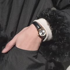 CASIO 카시오 여성시계 가죽밴드 클래식 원형골드