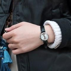 CASIO 카시오 여성시계 가죽밴드 클래식 원형실버