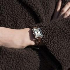 CASIO 카시오 여성시계 가죽밴드 클래식 스퀘어 다크브라운