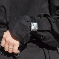 CASIO 카시오 여성시계 가죽밴드 클래식 스퀘어블랙