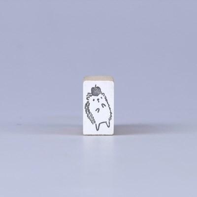 [노낫네버] 사과 고슴도치 우드 스탬프
