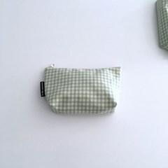 민트 체크 파우치(Mint check pouch)