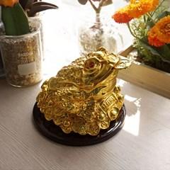 풍수 재물복 우드받침 황금 삼족두꺼비