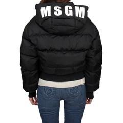 19FW MSGM 후드 로고 크롭 구스다운패딩 (블랙/여성) 2741MDH16X 752