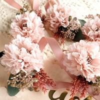 브라이덜샤워 꽃팔찌-인디핑크
