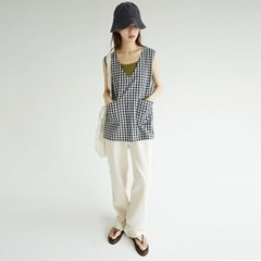 cutie check pattern vest (2colors)_(1292996)