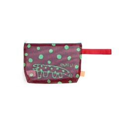 Dot Lizard Mesh Clutch_Wine