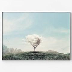 메탈 풍경 일러스트 인테리어 그림 액자 구름 나무