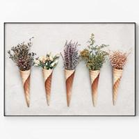 메탈 식물 아트 프린트 포스터 인테리어 액자 들꽃 B