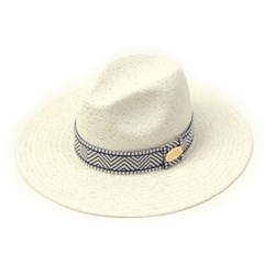 Blue Mono Line Swing White Fedora 여름페도라