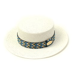 Blue Wave Line White Panama Hat 파나마햇