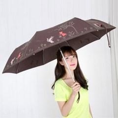 A0474 두건소녀 브라운 3단자동우산