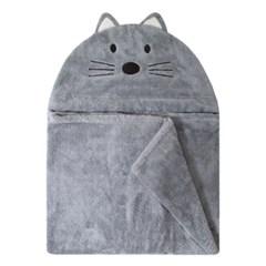 [밀리언달러베이비]베이비 후드타올 고양이 그레이(목욕&비치타올)