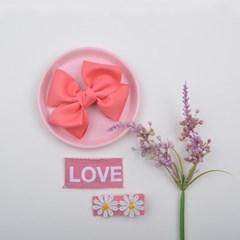 데이지 헤어핀 세트 (핑크+화이트핑크LOVE)