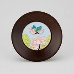 GZBL-018 흑단목 나비 꽃 무늬 찻잔 받침-화이트