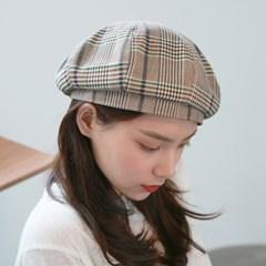 Cotton check beret