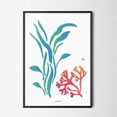 유니크 인테리어 디자인 포스터 M 미역과 산호 바다
