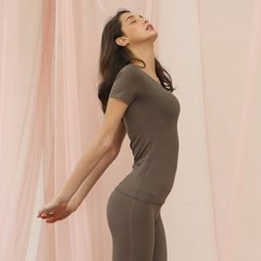 여성 요가복 DEVI-T0016-브라운 필라테스 티셔츠 반팔 라운드넥