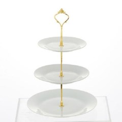 원형 심플 3단 접시 디저트 트레이