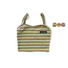 MULTI STRIPE SLEEVELESS CROP TOP(3color)