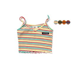 SHIRRING STRIPE SLEEVELESS CROP TOP(4color)
