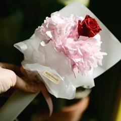 프리저브드 장미 한송이 꽃다발 미니 수국 선물_(1839199)