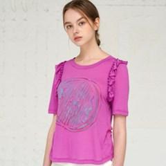 [JBREFINE] 제이비리파인 프린트 러플 티셔츠 탑